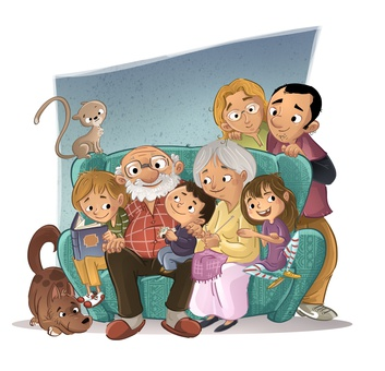 familia en el sof
