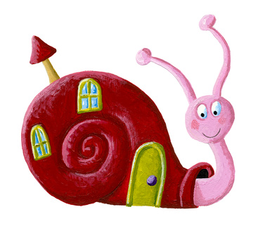 Acrylic illustration of the funny snail with window and door on a shell - artistic content
