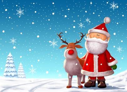 Santa & Rudolph Christmas Scene - Digital Illustration