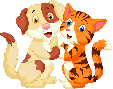 Cute cat and dog cartoon