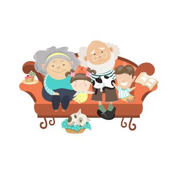 Grandparents and grandchildren. Happy grandparents with their grandchildren. Vector illustartion