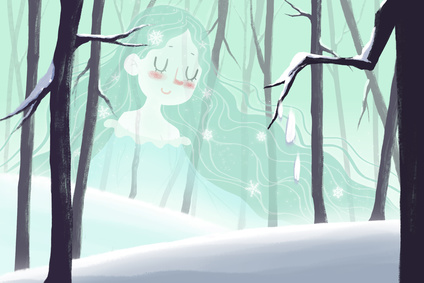 Creative Illustration and Innovative Art: Winter Fairy Shows up in the Snow Forest - Child Fairy Tale Story. Realistic Fantastic Cartoon Style Artwork Scene, Wallpaper, Story Background, Card Design