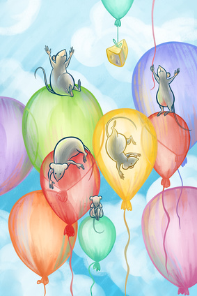 five mice flying on balloons and a piece of cheese