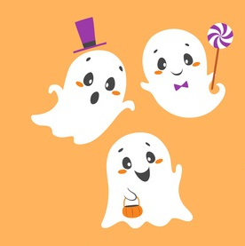 Set of cute Halloween characters. Pumpkin, ghosts, bats, black cat, raven, spiders, vampire, skin-walker and owl isolated on orange background.