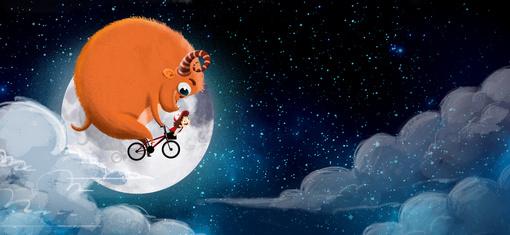 Niño y monstruo en una bicicleta volando por el cielo. Es de noche, el cielo esta estrellado y hay nubes